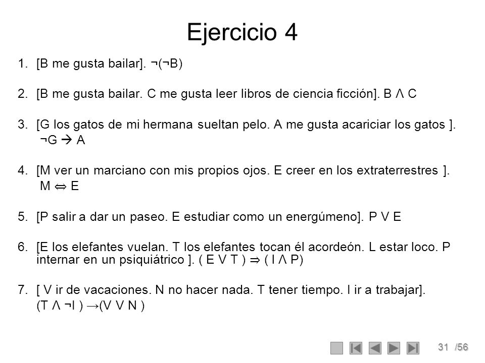 Ejercicio 4 [B me gusta bailar]. ¬(¬B)
